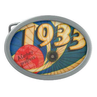 Vintage 1933 World's Fair Century Progress Ad Art Oval Belt Buckle