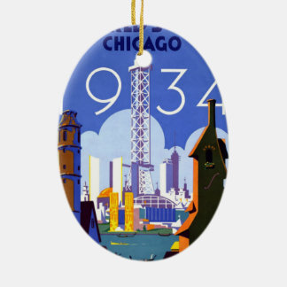Vintage 1934 Chicago World Fair Travel Poster Ceramic Ornament