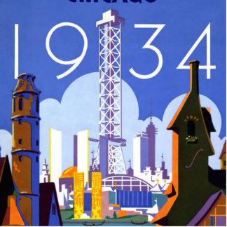 Vintage 1934 Chicago World Fair Travel Poster Cutout