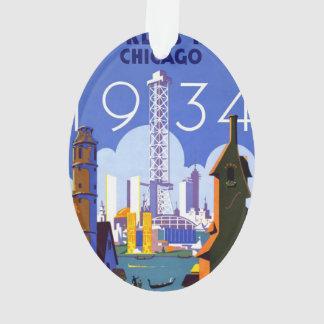 Vintage 1934 Chicago World Fair Travel Poster Ornament