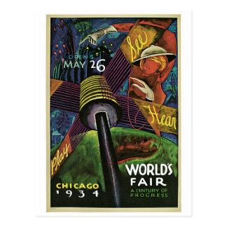 vintage 1934 Chicago World's fair Postcard