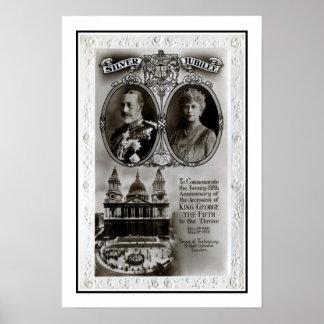 Vintage 1935, 25to rey George V de la adhesión del Poster