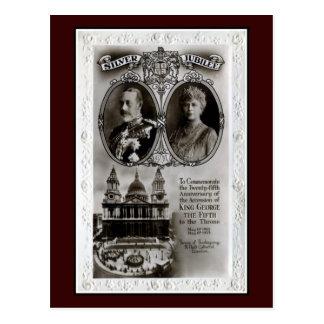 Vintage 1935, 25to rey George V de la adhesión del Tarjetas Postales