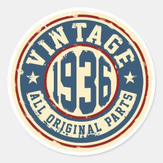 Vintage 1936 All Original Parts Classic Round Sticker
