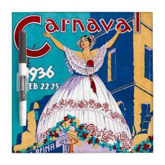 Vintage 1936 Carnaval de Panama Poster Dry Erase Whiteboard