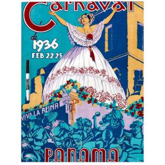 Vintage 1936 Carnaval de Panama Poster Dry Erase White Board