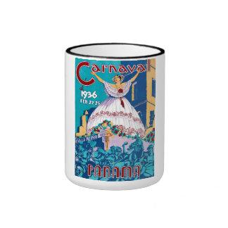 Vintage 1936 Carnaval de Panama Poster Ringer Coffee Mug