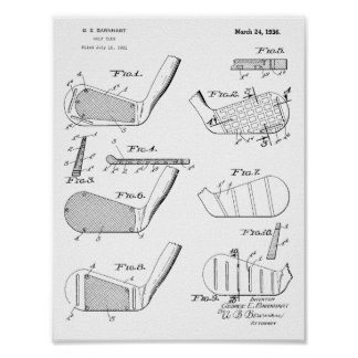Vintage 1936 Golf Clubs Design Patent Art Print