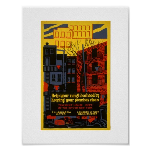 VINTAGE 1936 NY ART PROJECT Clean Tenements Poster