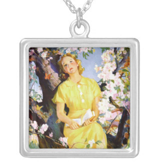 Vintage 1936 print from Country Gentleman Square Pendant Necklace
