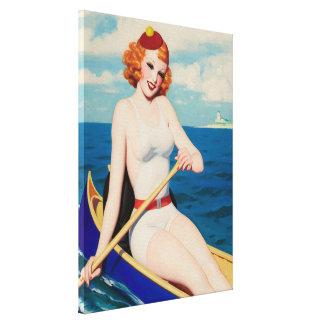 Vintage 1936 que baña Canoeing de la belleza Impresión En Tela