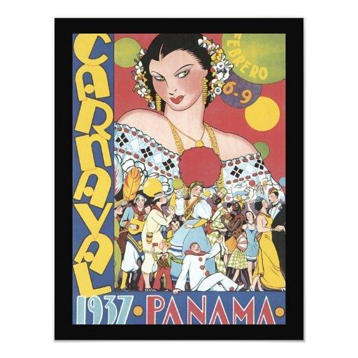 Vintage 1937 Panama Carnaval Woman 4.25x5.5 Paper Invitation Card