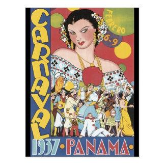 Vintage 1937 Panama Carnaval Woman Postcard