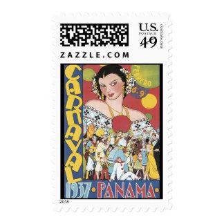 Vintage 1937 Panama Carnaval Woman Stamp