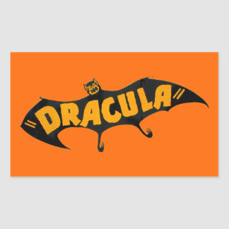Vintage 1938 Dracula Vampire Bat Rectangular Sticker