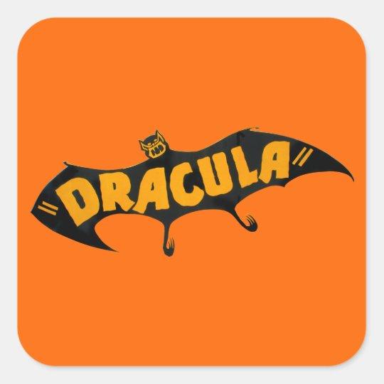 Vintage 1938 Dracula Vampire Bat Square Sticker