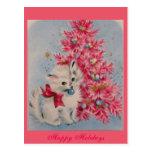 Vintage 1940 Christmas Cat Postcard