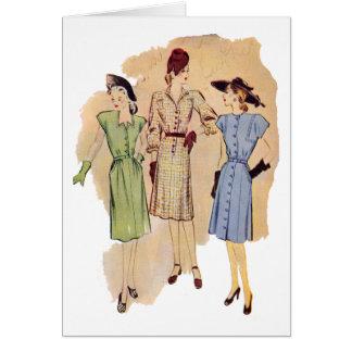 Vintage 1940s Fashion Card