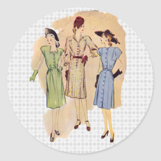 Vintage 1940s Fashion Classic Round Sticker