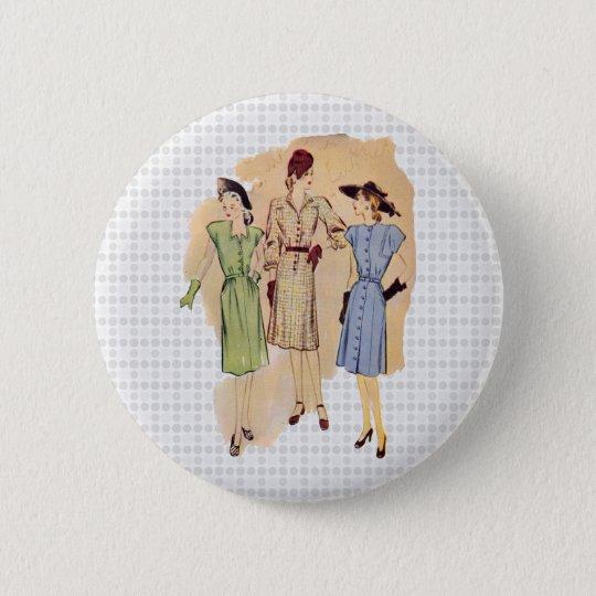 Vintage 1940s Fashion Pinback Button