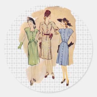 Vintage 1940s Fashion Round Stickers