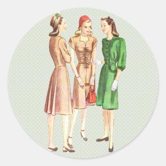 Vintage 1940s Fashion V2 Classic Round Sticker