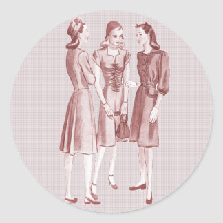 Vintage 1940s Fashion V2 Red Classic Round Sticker