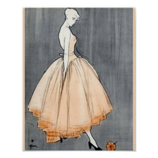 Vintage 1940s French Couture Print