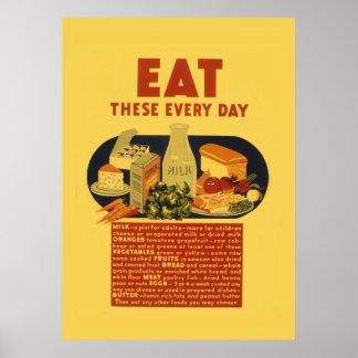 Vintage 1940s healthy food school poster