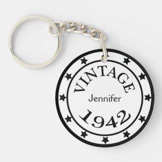 Vintage 1942 birthday year stars custom girls name keychain