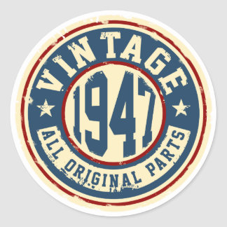 Vintage 1947 All Original Parts Classic Round Sticker