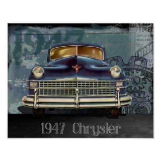 Vintage 1947 Chrysler Car Automobile Poster Art