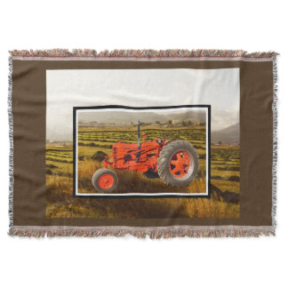 Vintage 1948 Case DC Tractor Cozy Throw Blanket