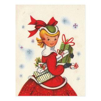 Vintage 1950s Christmas Girl Postcard
