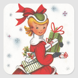 Vintage 1950s Christmas Girl Square Sticker