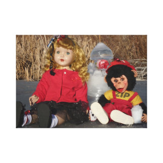 Vintage 1950's Dolls and Ice castle January Stretched Canvas Prints