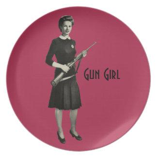 Vintage 1950s Era Gun Girl Rifle Pink Dinner Plate