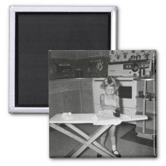 Vintage 1950s Girl in Kitchen Magnet