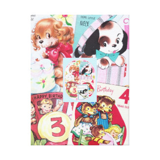 Vintage 1950's Girls Birthday Cards Collage Canvas Prints