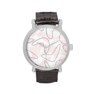 Vintage 1950s Pink & Gray Boomerang Watch