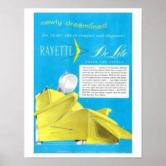 Vintage 1950's Rayette Hair Dryer Beauty Shop Art Poster