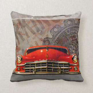 Vintage 1950's Red Car Collage Throw Pillow