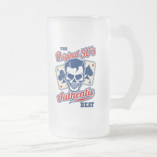 Vintage 1950s Rockabilly Skull with Aces Frosted Glass Beer Mug