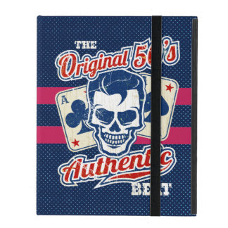 Vintage 1950s Rockabilly Skull with Aces iPad Cover