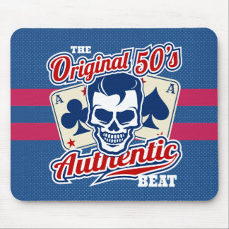 Vintage 1950s Rockabilly Skull with Aces Mouse Pad