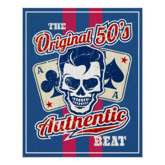 Vintage 1950s Rockabilly Skull with Aces Poster