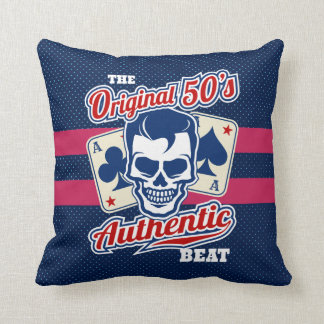 Vintage 1950s Rockabilly Skull with Aces Throw Pillow