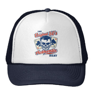 Vintage 1950s Rockabilly Skull with Aces Trucker Hat