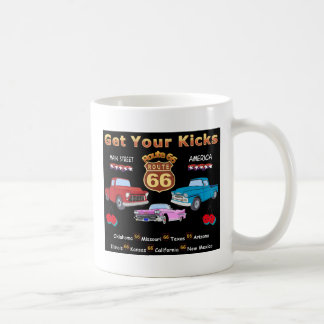 Vintage 1950s  Route 66 Classic White Coffee Mug