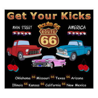 Vintage 1950s  Route 66 Poster